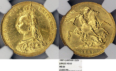 Great Britain. Queen Victoria (1837-1901) Gold Sovereign 1887. NGC MS61