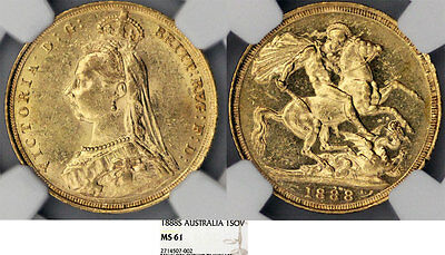 Australia. Queen Victoria (1837-1901) Gold Sovereign 1888 S. NGC MS61
