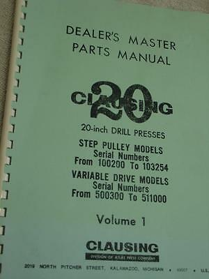 Clausing 20 rill Press  Parts Manual