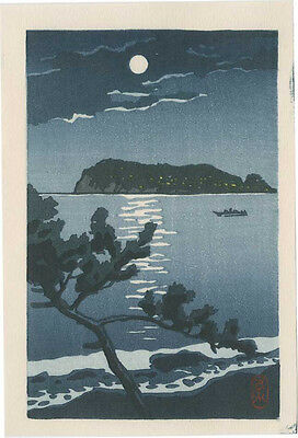 KAWASE HASUI - Japanese Woodblock Print ENOSHIMA ISLAND IN MOONLIGHT 1930