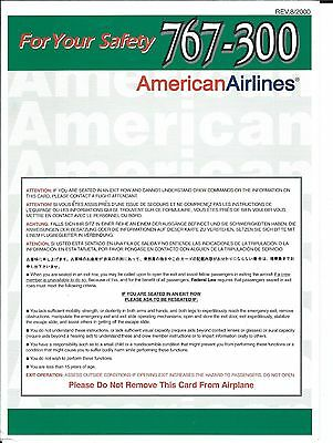 Safety Card - American - B767 300 - 2000 (S3730)