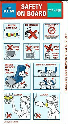 Safety Card - KLM - B747 400 - 1998 (S3732)