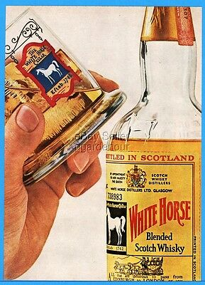 1963 White Horse Scotch Whisky Cocktail Glass Bottle Photo Print Ad