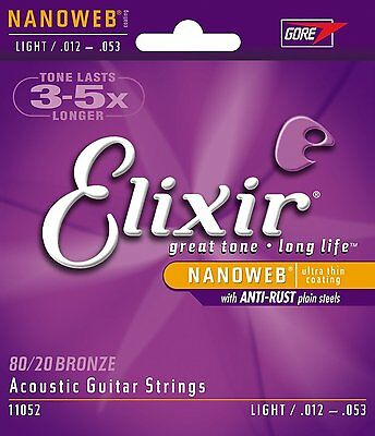NEW LOT OF (2) SETS Elixir 11052 Strings Acoustic BRONZE NANOWEB LIGHT.012-053