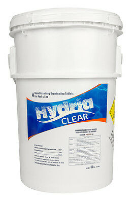 """Hydria Clear 1"""" Inch Swimming Pool & Spa Bromine Sanitizer Tabs Tablets - 50 lbs"""