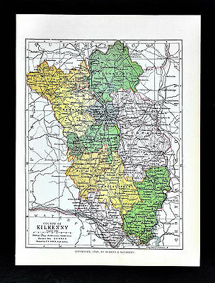 1899 Ireland Map - Kilkenny County - Kilkenn Thomastown Callan Castlecomer Clogh