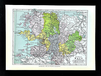 1899 Ireland Map - Mayo County  Killala Bay Belmullet Nephin Kilkelly Ballindine