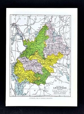 1899 Ireland Map - Longford County - Edgeworthstown Ballymahon Granard Drumlish