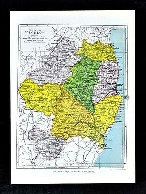 1899 Ireland Map - Wicklow County - Arklow Brides Head Shellelagh Dunlavin Mizen