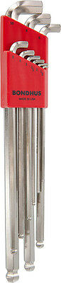 """L-wrench - Hex, Ball Tip, Stubby, BriteGuard Plated, 3/4""""1.5-10mm, 9 Pc"""