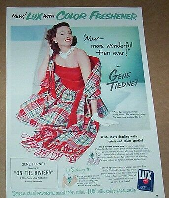 1951 ad page -LUX laundry Soap GENE TIERNEY movie star vintage Print ADVERTISING