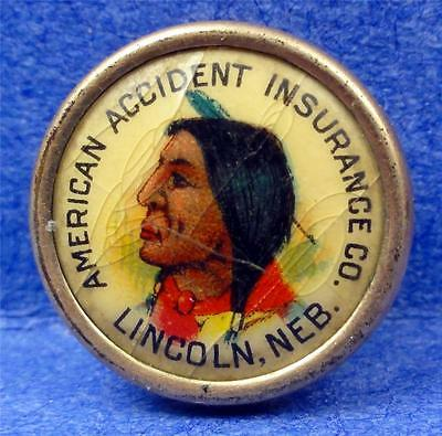 SCARCE Cello & Metal Stud-Pin LINCOLN NE. AM. ACCIDENT INS. (INDIAN) 16mm ME3211