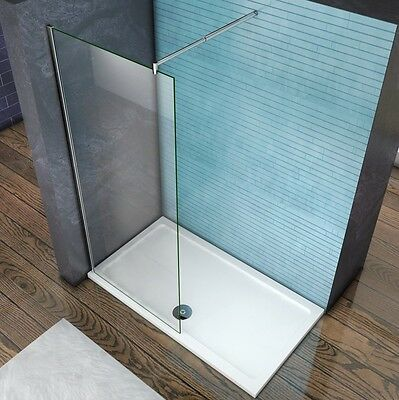 Aica Wet Room Shower Enclosure Screen Panel 8mm NANO Glass 1850 1950 2000 Height