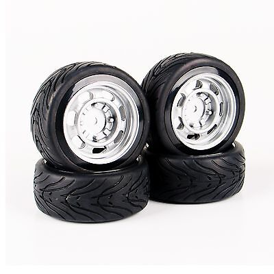 4Pcs Flat On Road Rubber Tire Wheel Rims For HSP HPI Racing RC 1:10 Car 12mm Hex