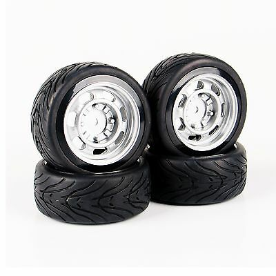 4X Rubber Tires Wheel Rims For HSP Racing HPI RC 1:10 Flat On Road Racing Car