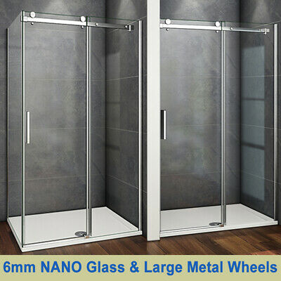 Aica Frameless Sliding Shower Enclosure Door and Tray 1950 Glass Screen Cubicle