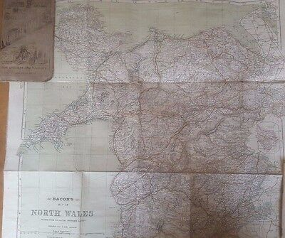 Bacon's Map of North Wales Circa 1890-1900 Large Scale Map & Cyclists Guide