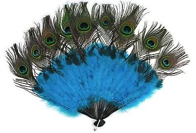 Burlesque Feather Fan 15.5 x 10.5 Peacock Turquoise Feather Fan Spirit