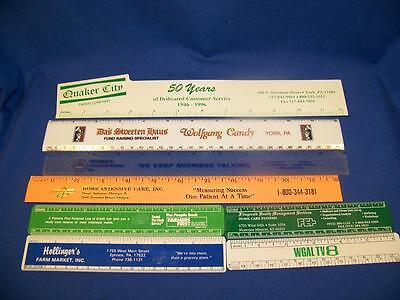 """Mixed lot of 8 Vintage Plastic  Advertising Rulers 6"""" and 12"""""""