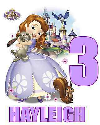 """Sofia the First Birthday / Name Iron On Transfer, 5x6""""  for LIGHT Colored Fabric"""