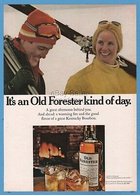 1969 Old Forester Whisky snow skiing skiers Brown Forman Distillers photo ad