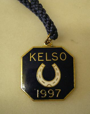 KELSO 1997 HORSE RACING Enamel Badge with Cord RACECOURSE