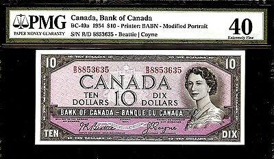 Canada 10 Dollars 1954 PMG 40 BC - 40a  Printer : BABN Young Queen