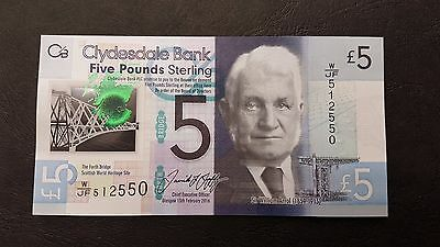 B-D-M Escocia Scotland 5 pounds Clydesdale Bank 2016 Pick New Polymer SC UNC