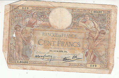 Billet France  100  Francs   Merson  11 / 8 / 1938 Bo