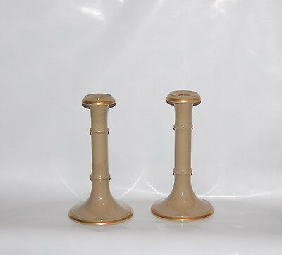 Pair Antique English Drabware Gilt Band Pottery Tall Candlesticks