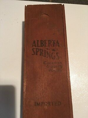 Alberta Springs Canadian Sipping Whiskey Vintage Wood Box w Sliding Lid