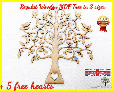 Wooden Tree Shape MDF Cut Family Tree Guestbook Crafting Card Wedding Deco Heart
