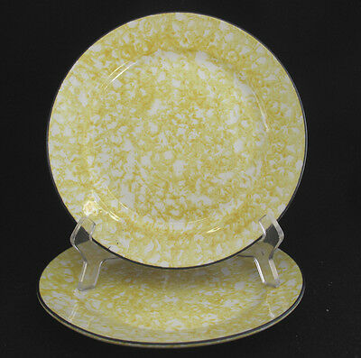 Stangl Town & Country Yellow Salad Plates Sponge Design on White Set of Two