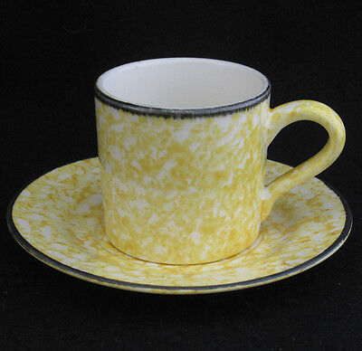 Stangl Town & Country Yellow Cup and Saucer Sponge Design on White