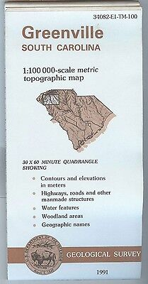 US Geological Survey topographic map metric GREENVILLE South Carolina 1991