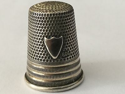 antique Germany 800 silver thimble with applied shield