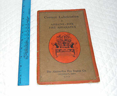 Antique Ahrens Fox Fire Engine Lubrication Booklet Vacuum Oil Company Mobil