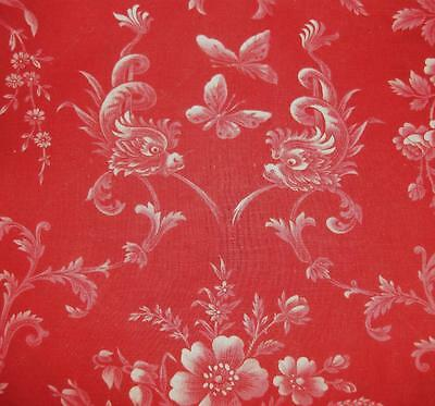 BEAUTIFUL 19th CENTURY FRENCH LINEN TOILE DE JOUY ROSES, DOLPHINS BUTTERFLIES