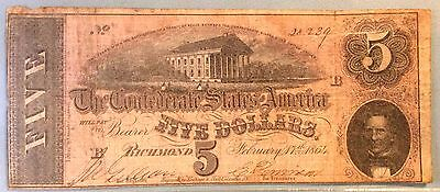 1864 $5 Five Dollar CSA Confederate Note Nice FREE SHIPPING