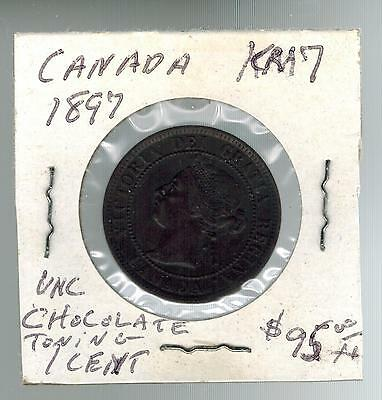 1897 Canada One Cent  large Penny coin # KM 7  Chocolate Toning