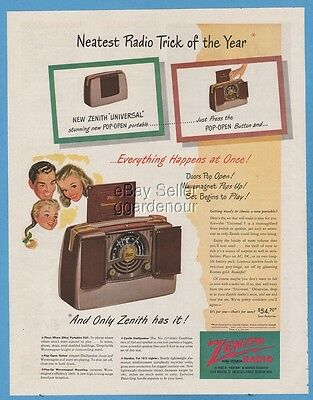 1948 Zenith Universal Pop-Open portable radio AWESOME period art vintage ad