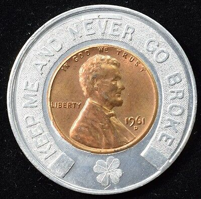 1948 Encased Lucky Cent - W. W. Wigner Coins & Antiques - Fort Wayne Indiana