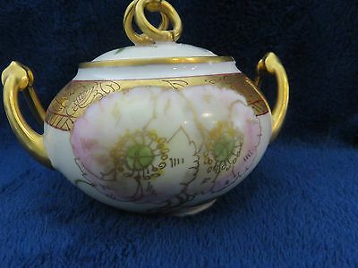 Pickard Porcelain Hand Painted Carnation Signed Nienges Sugar plus three more