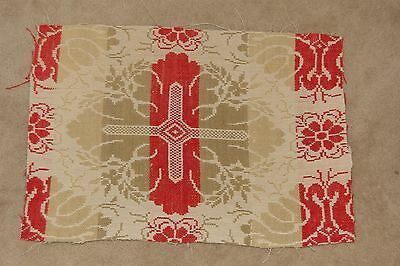 Antique Woven Coverlet Tan Red Cross Piece Repurpose