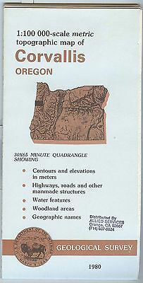 US Geological Survey topographic map metric CORVALLIS Oregon 1980