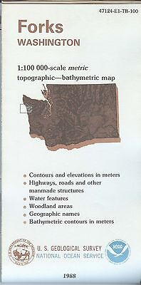US Geological Survey topographic map metric FORKS Washington 1988