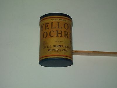 Apothecary-Paper-Cardboard-Can-Advertising-YELLOW OCHRE-Medicine-Powder-SEALED