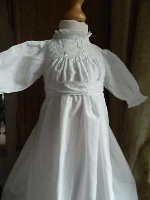 Antique Edwardian white cotton baby or doll's long gown / dress -  lace trim