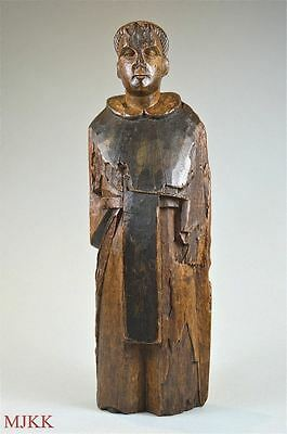 Superb decorative original antique hand carved figure of a saint or monk c.1800