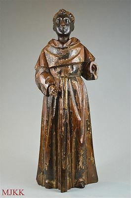 Superb decorative original antique hand carved figure of a saint or monk c.1760